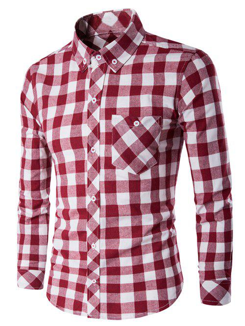Checked Button-Down Long Sleeves Shirt - RED/WHITE L