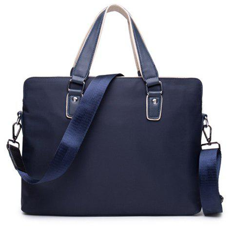 Fashion Solid Color and Nylon Design Men's Briefcase - PURPLISH BLUE