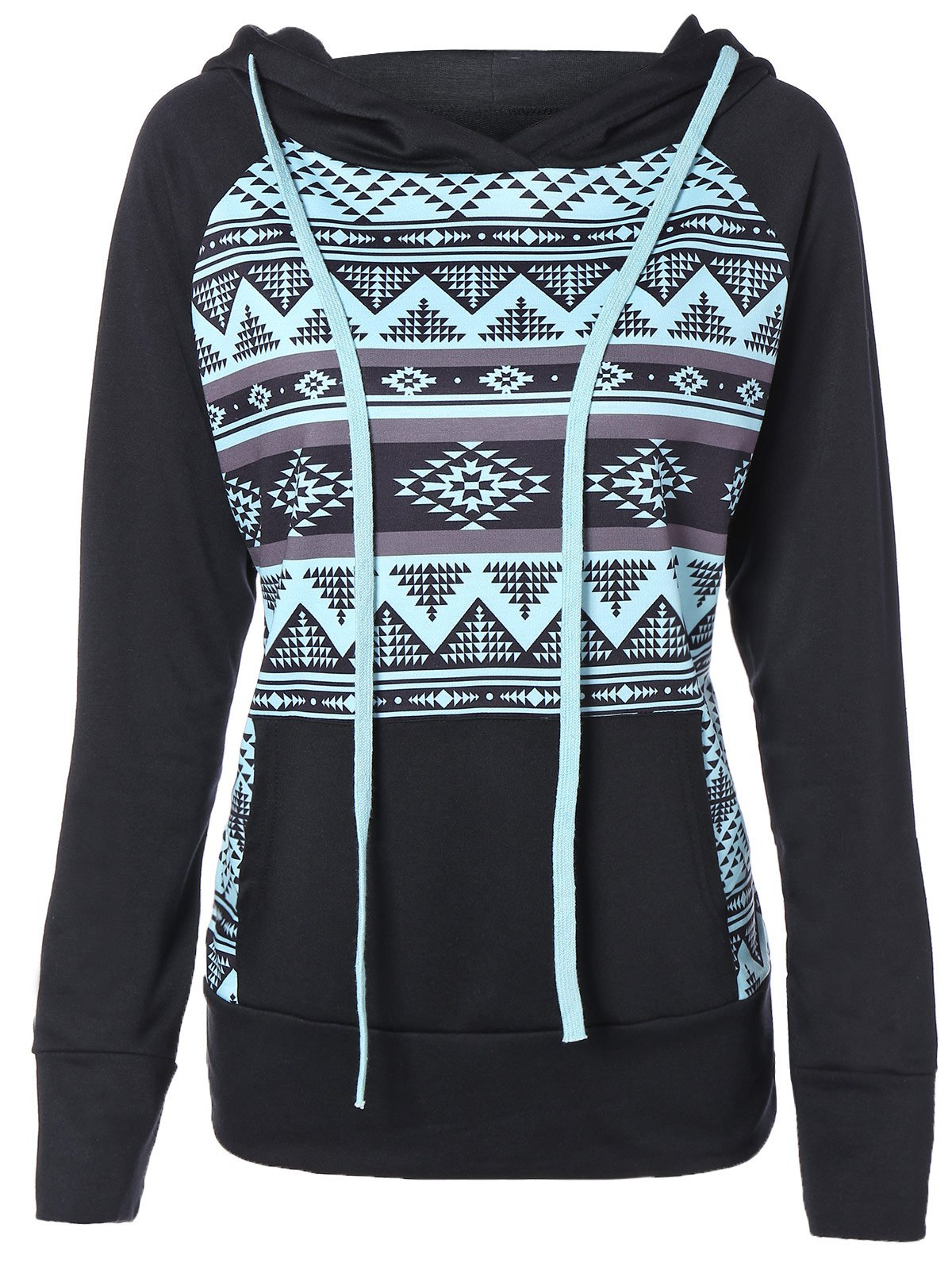 Zigzag Print Slimming Pullover String HoodieWomen<br><br><br>Size: 2XL<br>Color: BLACK