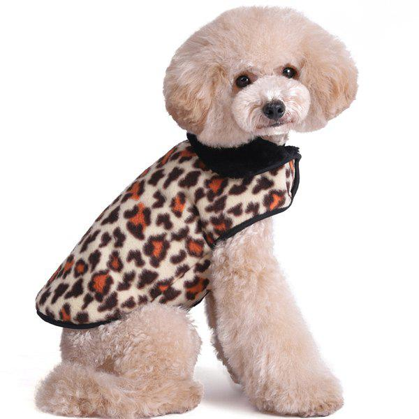 Thickening Soft Nap Winter Warm Leopard Print Jacket Coat Puppy Clothes - BROWN M