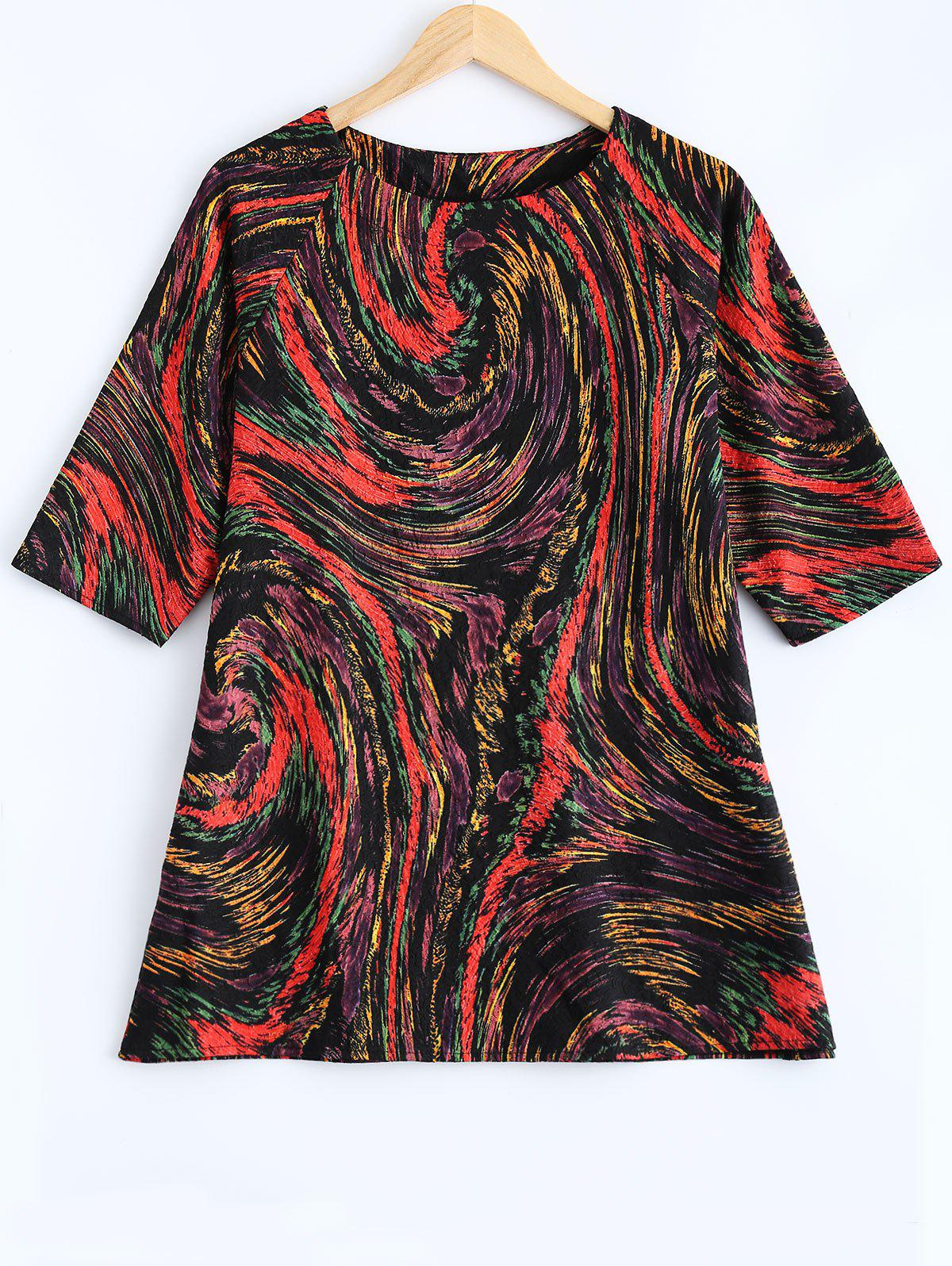 Plus Size Galaxy Imprimer 3/4 T Shirt manches - Rouge ONE SIZE