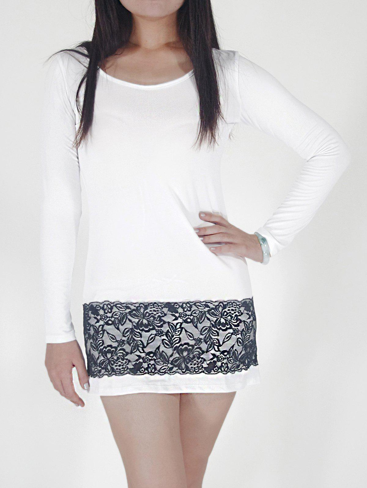 Long Sleeve Fitted Dress with Lace - WHITE M
