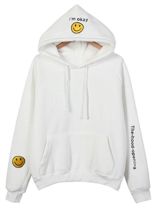 Brodé Thickening Hoodie - Blanc ONE SIZE