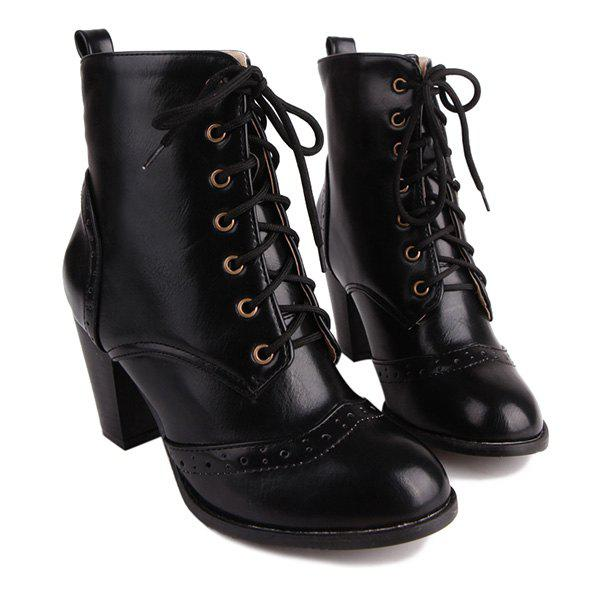 Tie Up Chunky Heel Engraving Ankle Boots - BLACK 39