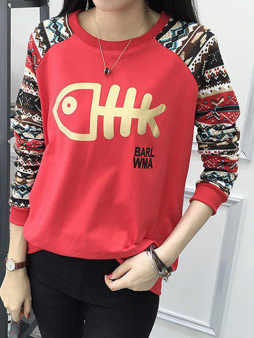 Jacquard Fitting Sweatshirt - RED M
