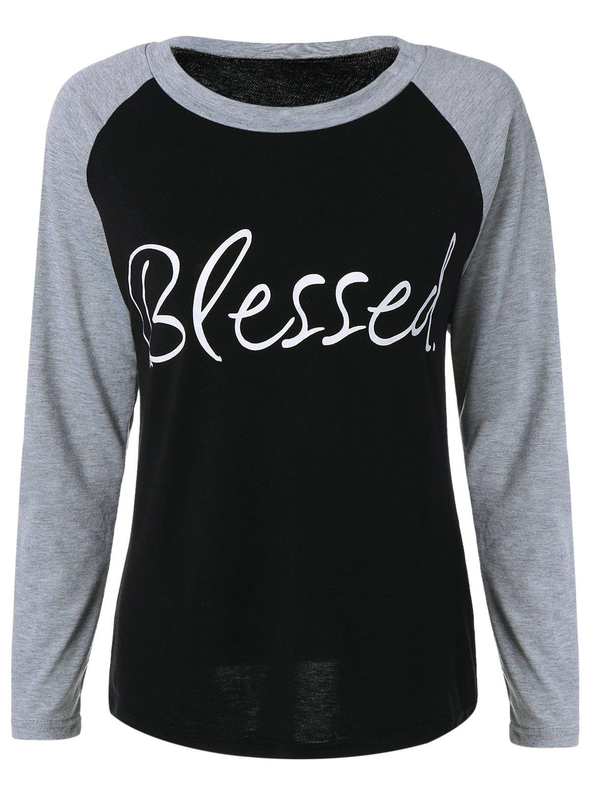 Raglan Sleeve Blessed Baseball Sweatshirt - BLACK S