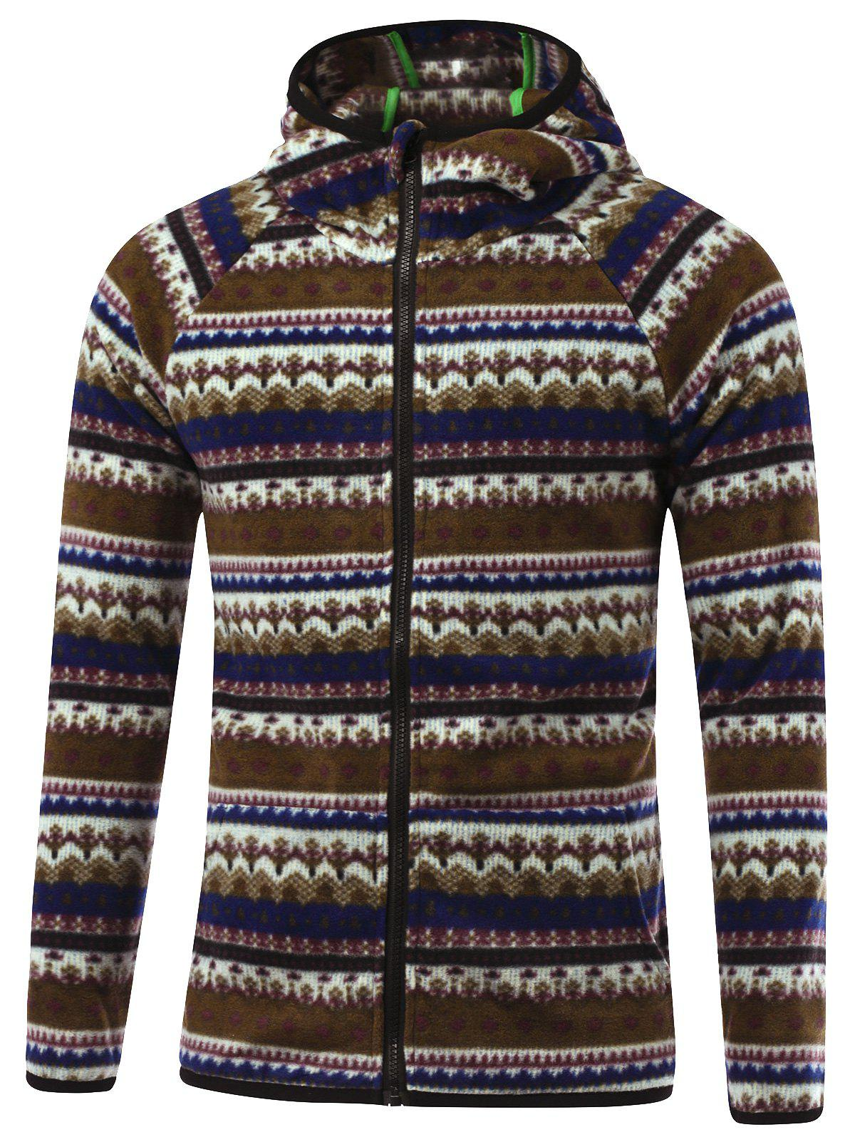Zipper Up Tribal Printed Hoodie - COFFEE XL