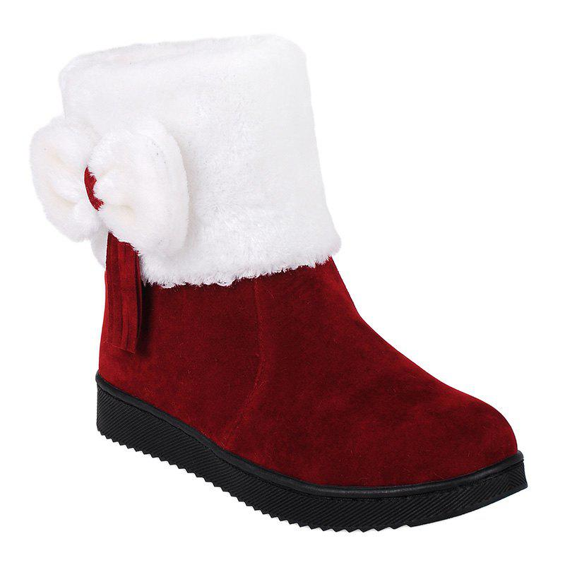 Suede Fringe Bow Snow Boots