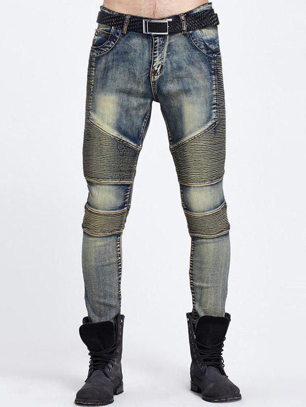 Zipper Fly Ribbed Panel Ripped JeansMen<br><br><br>Size: 30<br>Color: BLUE