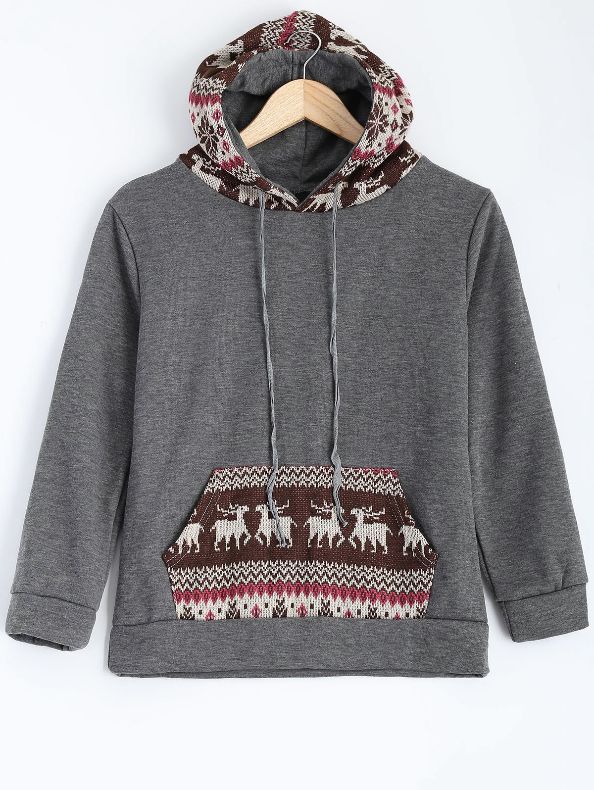 Christmas Deer Pattern Fleece Hoodie - GRAY S