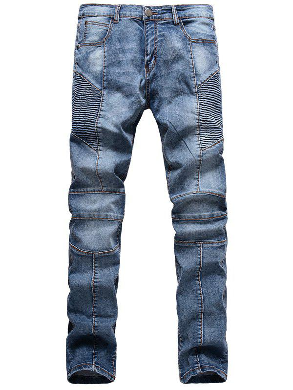 Zipper Fly Scratched Ribbed Panel Five-Pocket Jeans 197024502