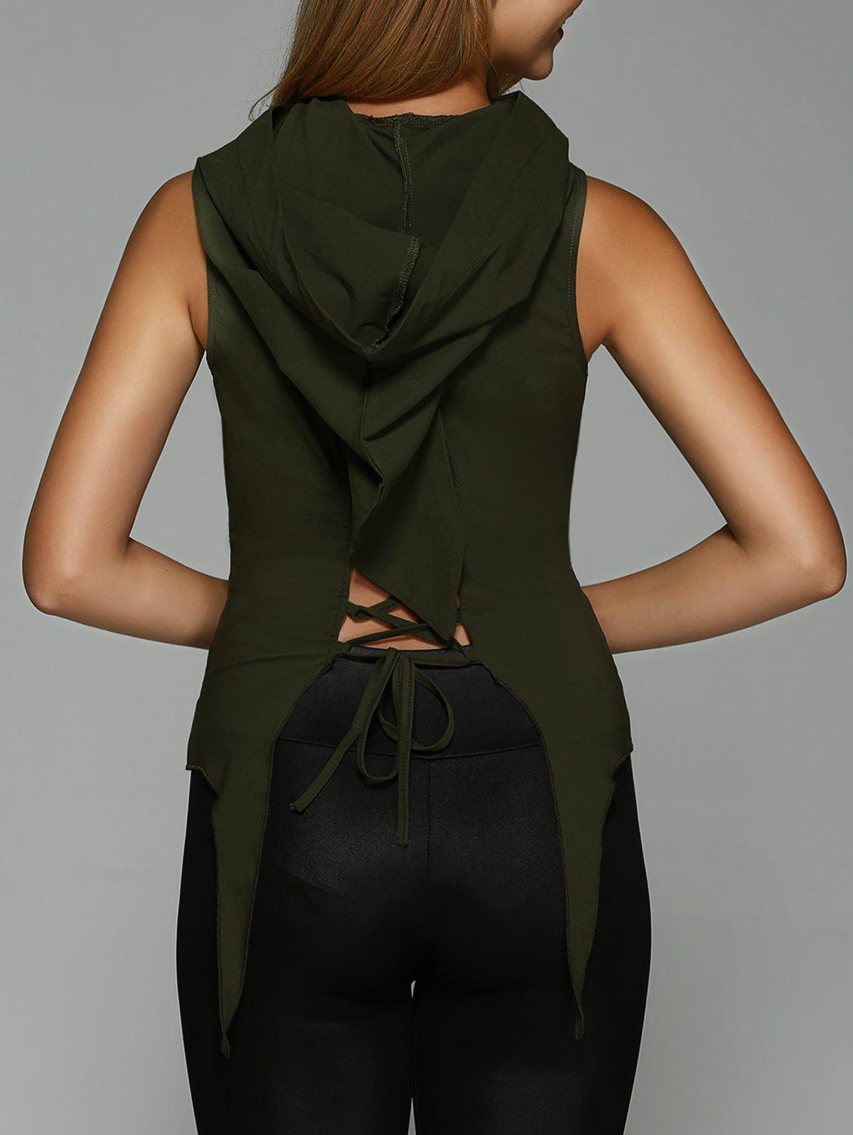 Hooded Lace-Up Asymmetrical Tank TopWomen<br><br><br>Size: M<br>Color: BLACKISH GREEN