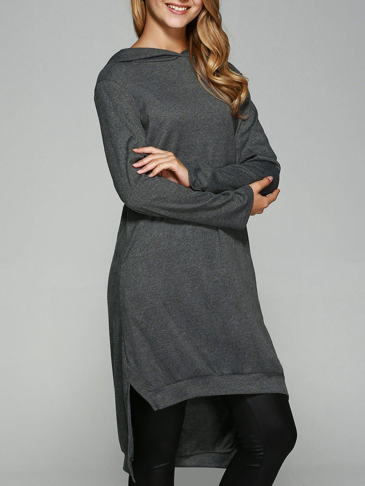 Side Slit Asymmetrical Hoodie - DEEP GRAY M