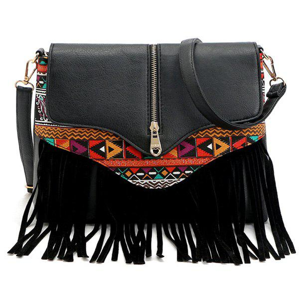 Zip Printed Fringe Crossbody Bag - BLACK