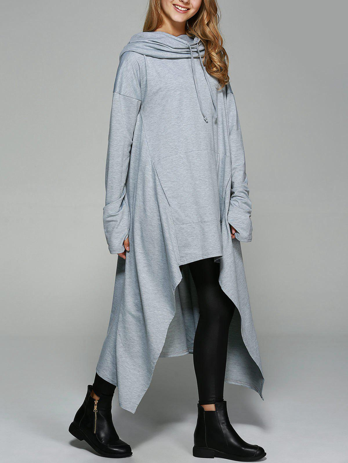 Asymmetrical Pocket Design Loose-Fitting Neck Hoodie - LIGHT GRAY L