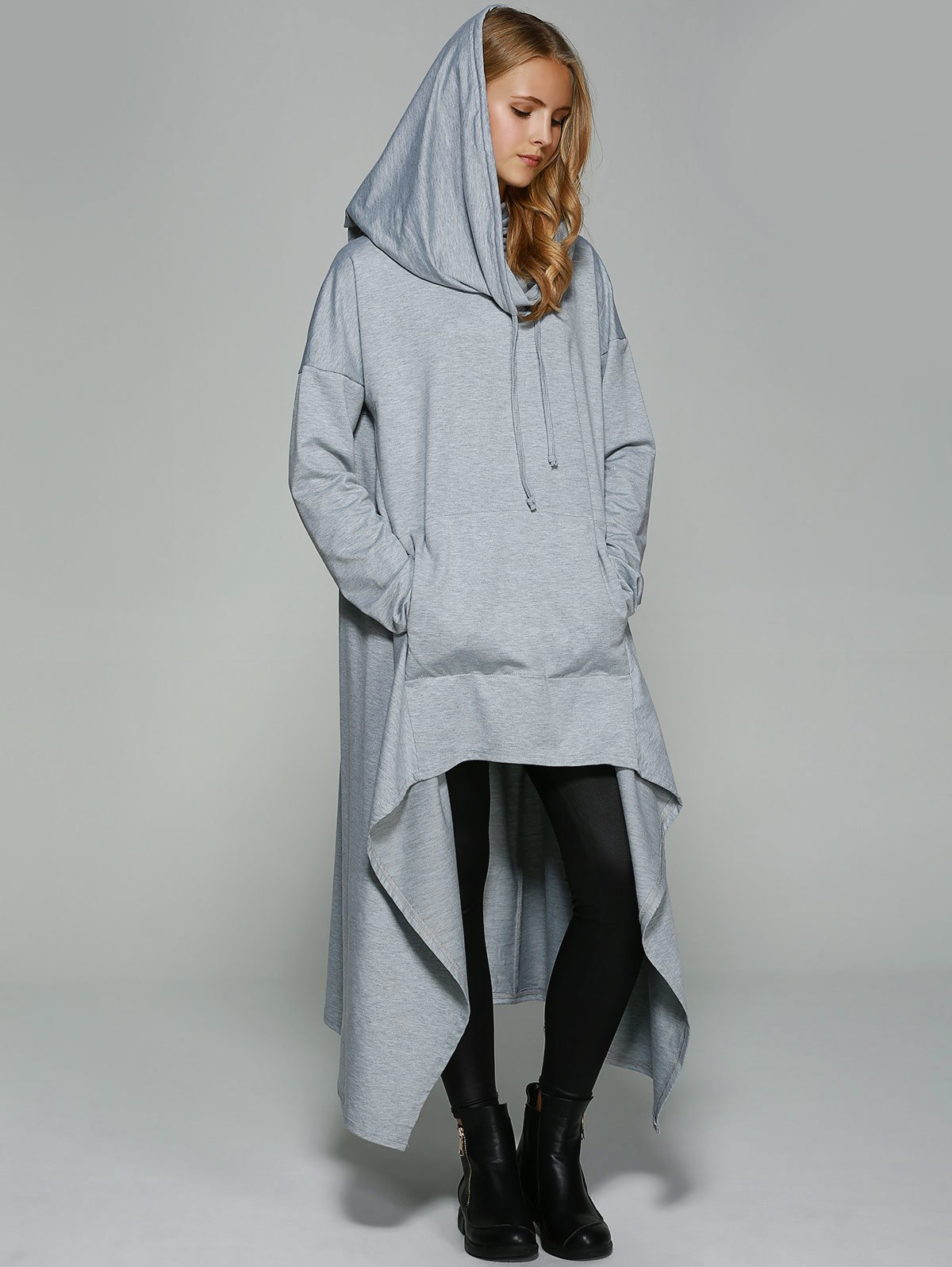 Asymmetrical Pocket Design Loose-Fitting Neck Hoodie - LIGHT GRAY M
