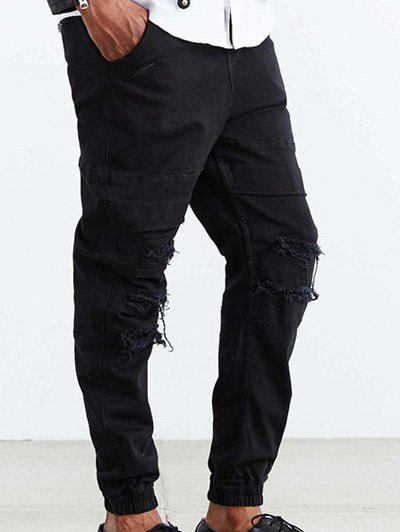 Drawstring Loose Fit effilochée Ripped Pants Jogger - Noir L