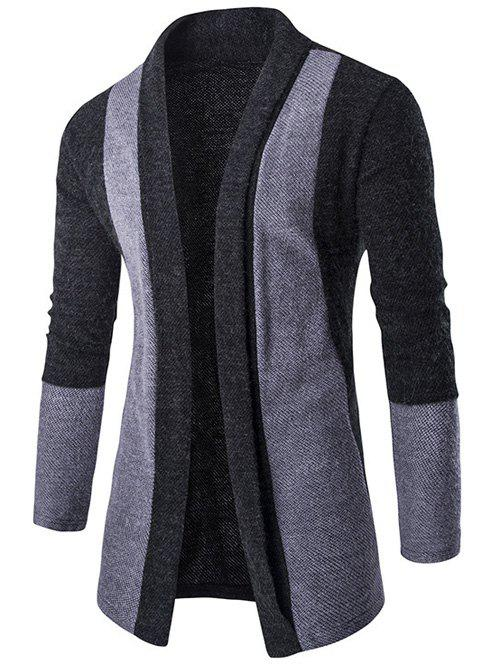 Slim-Fit Shawl Collar Color Block Cardigan - DEEP GRAY M