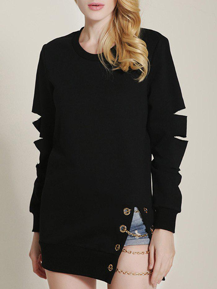 Cut Out Ripped Sleeve Chain Design Sweatshirt - BLACK XL