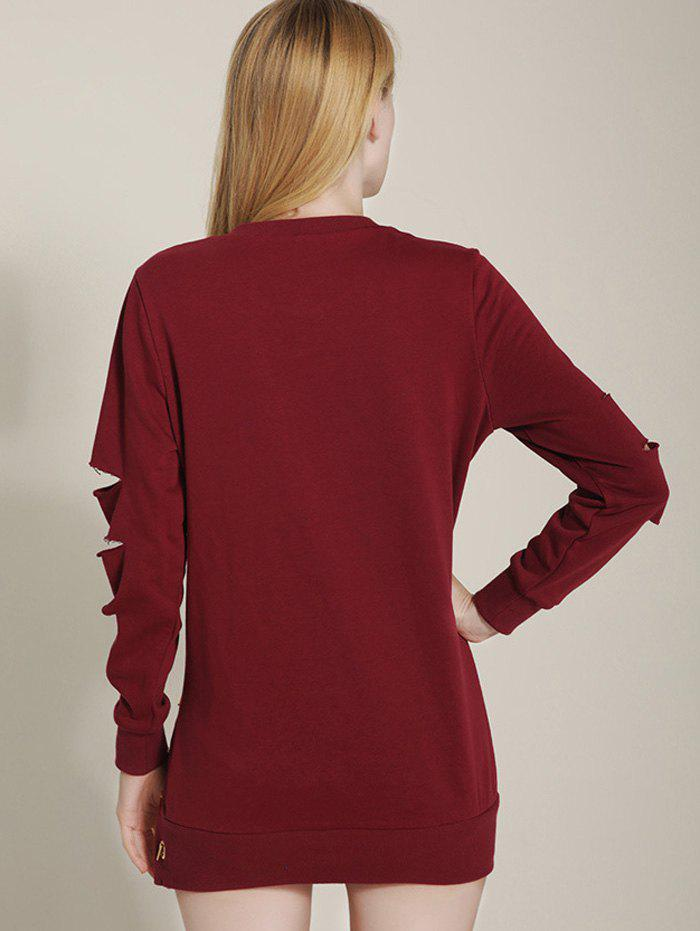 Cut Out Ripped Sleeve Chain Design Sweatshirt - WINE RED L