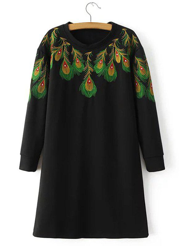 Loose Peacock Feather Embroidered Sweatshirt Dress - BLACK S