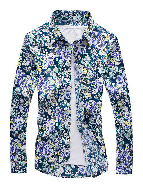 3D Flower Printed Long Sleeve Shirt - COLORMIX 4XL