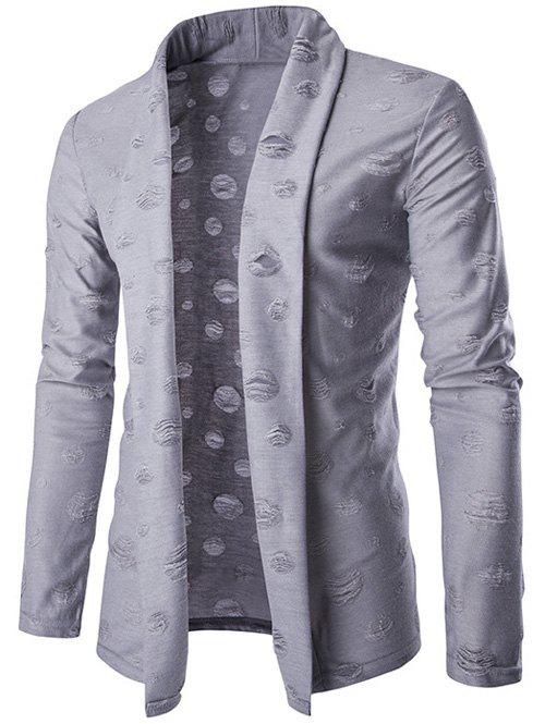 Slim-Fit Shawl Collar Destroyed Cardigan
