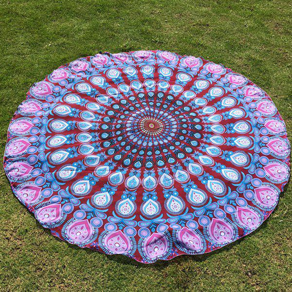 Autumn Feather Mandala Print Round Beach Throw mandala feather totem chiffon round beach throw