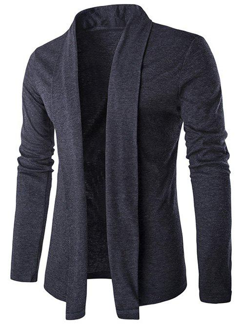 Shawl Collar Long Slim Cardigan - DEEP GRAY M