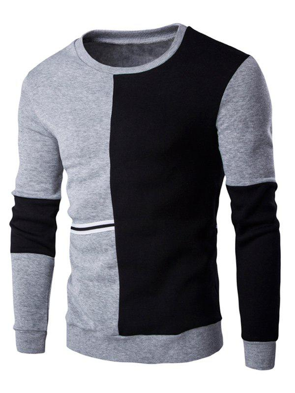 Braid Embellished Color Block Splicing Sweatshirt - BLACK/GREY XL