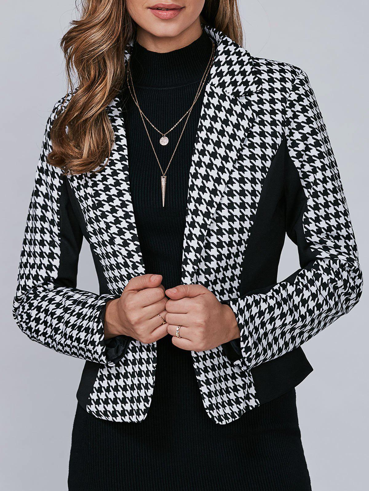 Houndstooth Motif One Button Blazer - Noir 2XL