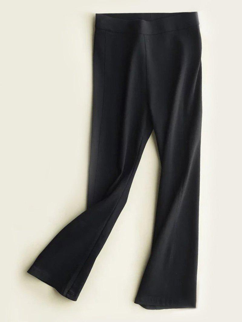High Waist Slimming Boot Cut Pants - BLACK S