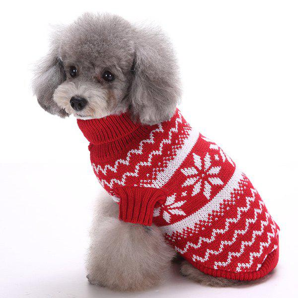 Knitting Snows Wave Sweater Christmas Winter Warm Puppy Clothes - RED XS