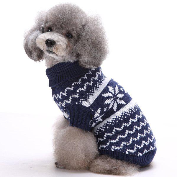 Knitting Snows Wave Sweater Christmas Winter Warm Puppy Clothes - DEEP BLUE XS