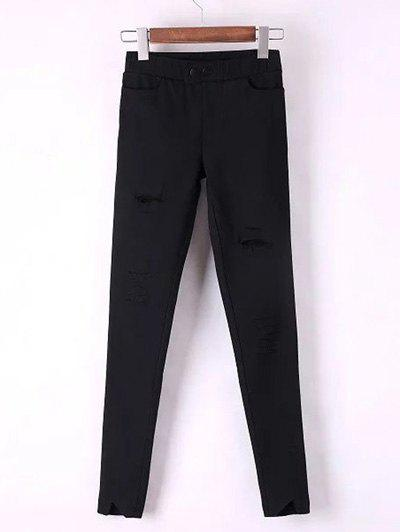 Slimming Frayed Broken Hole Ankle Cigarette Pants