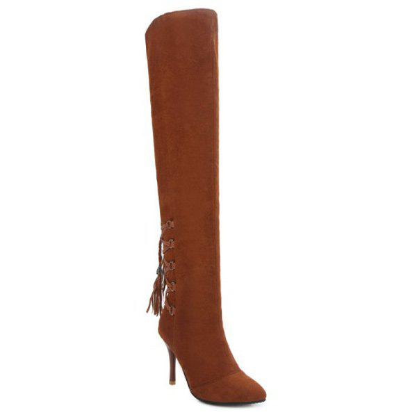 Tassels Pointed Toe Lace Up Thigh BootsShoes<br><br><br>Size: 37<br>Color: BROWN