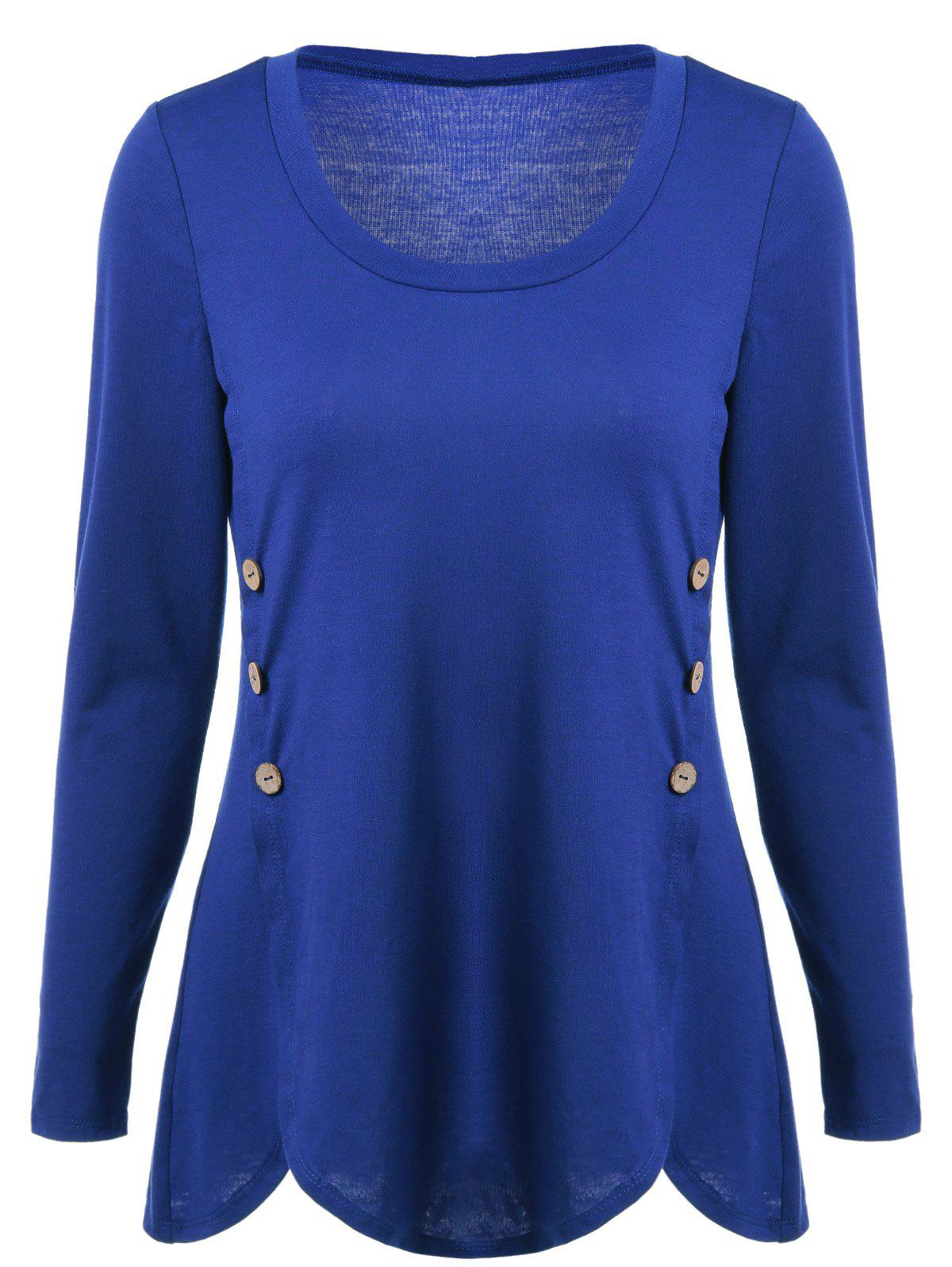 Double-Breasted Asymmetrical T-Shirt - BLUE L