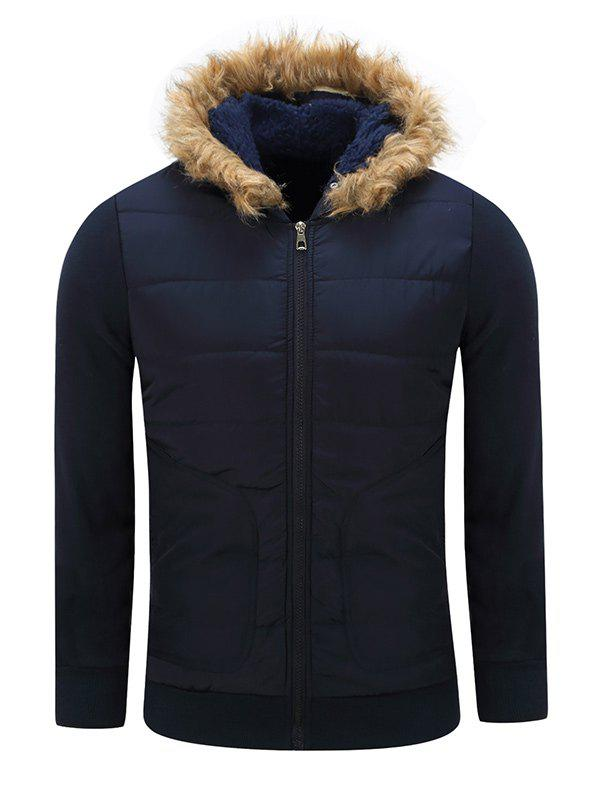 Furry Hood Thicken Cotton Padded Zip-Up Jacket - SAPPHIRE BLUE XL