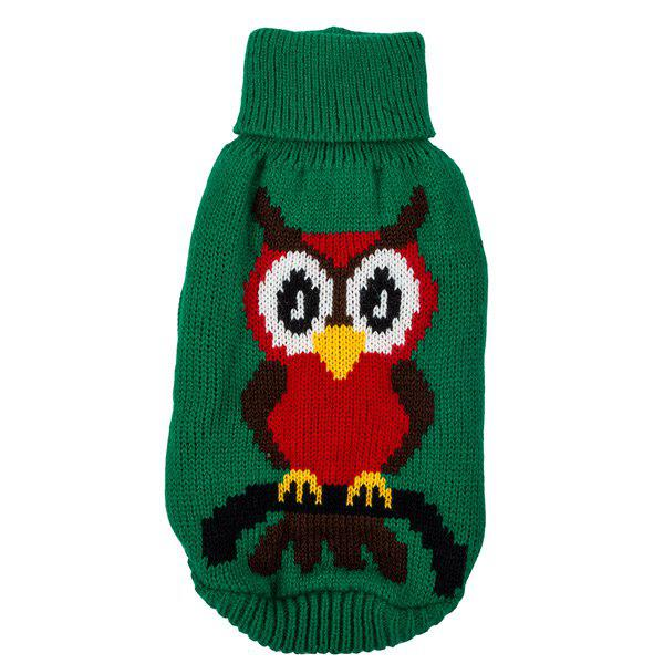 Christmas Owl Sweater Winter Warm Puppy Clothes - GREEN XL