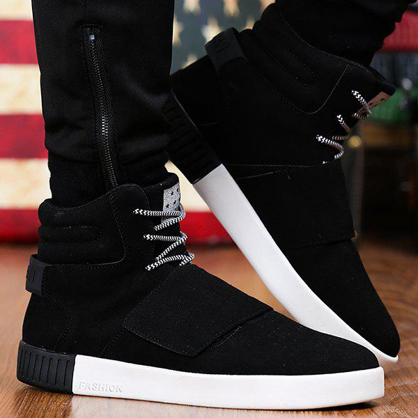Casual Lace-Up Suede High Top Shoes - BLACK 44