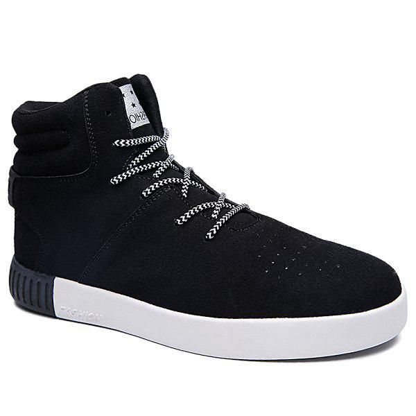 Suede High Top Skate Shoes - BLACK 44