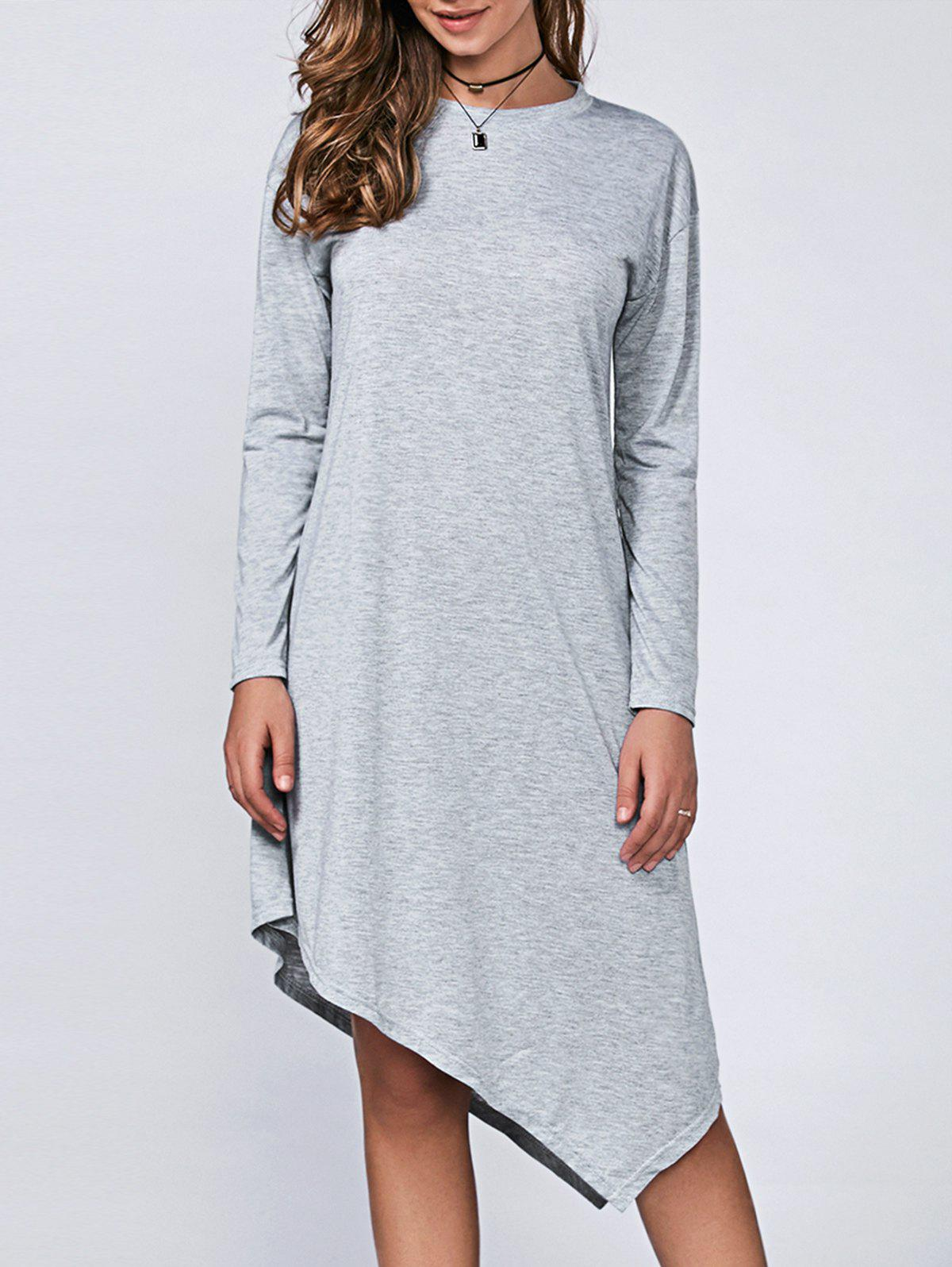 Casual Long Sleeve Asymmetric DressWomen<br><br><br>Size: XL<br>Color: LIGHT GRAY