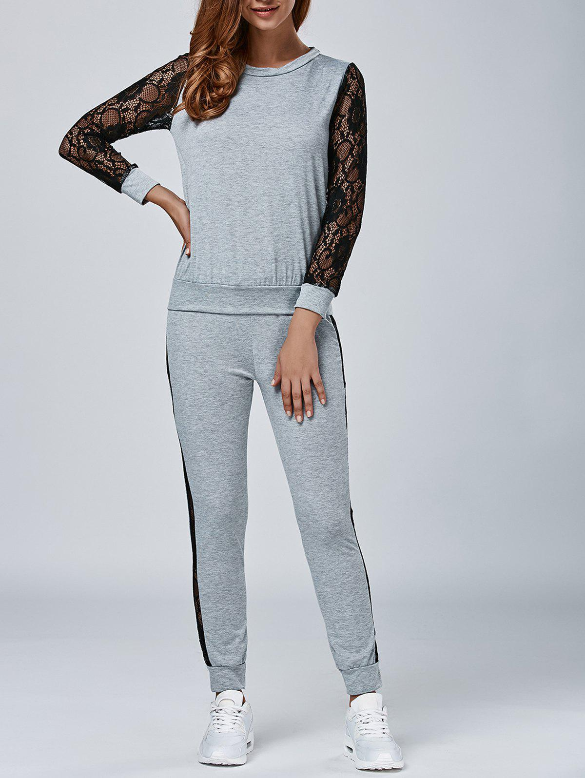 Dentelle Splicing Sweatshirt avec Pants - gris S