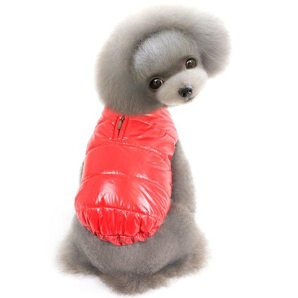 Thickening Hooded Glossy Down Jacket Winter Warm Two Feet Puppy Clothes - RED L