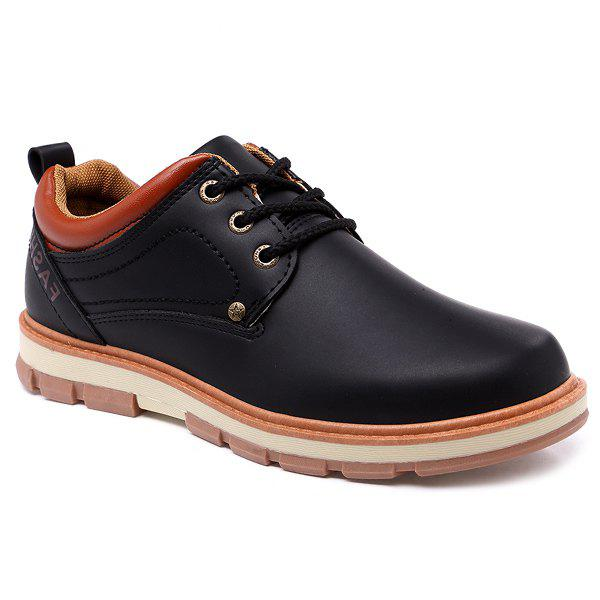 Color Splice Stitching PU Leather Casual Shoes - BLACK 44