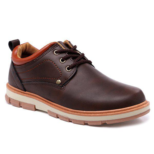 Color Splice Stitching PU Leather Casual Shoes - BROWN 42