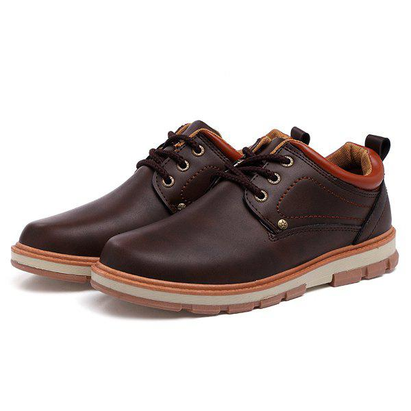 Color Splice Stitching PU Leather Casual Shoes - BROWN 44