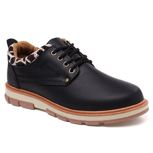 PU Leather Leopard Splice Stitching Casual Shoes - BLACK 44