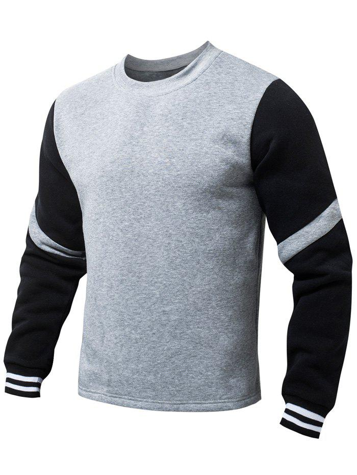 Stripe Pattern Long Sleeves Fleeces Sweatshirt - GRAY M