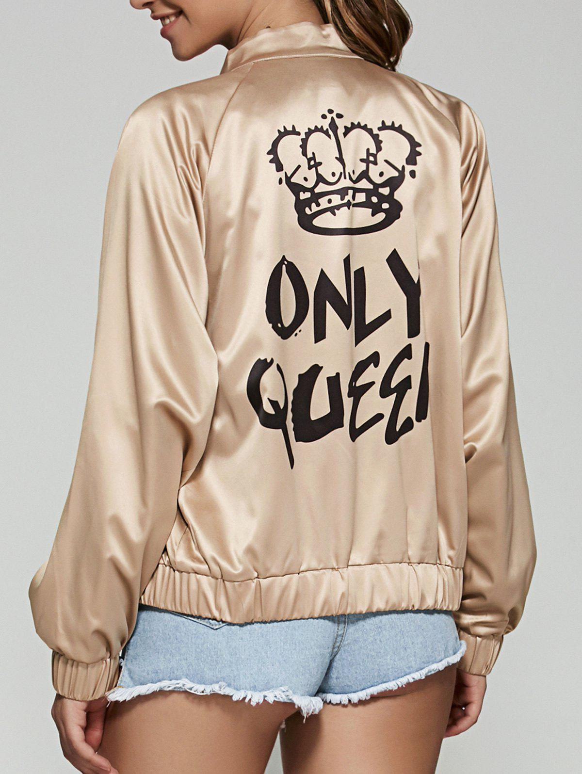Only Queen Satin Bomber JacketWomen<br><br><br>Size: L<br>Color: CHAMPAGNE